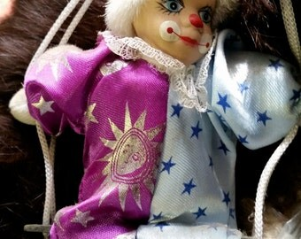 Vintage Shalom Swinging Porcelain Face Happy Clown Marionette Clown