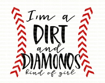 Softball SVG Softball Player Dirt and Diamonds Circuit Design Space Files Silhouette Studio Cameo Iron On Cut Files Commercial Use