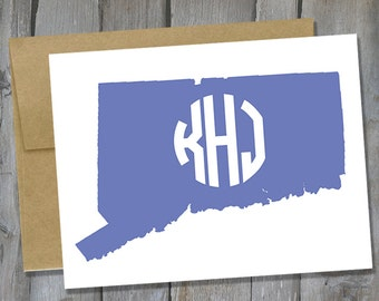 Customizable Connecticut Monogram Notecard Set of 12 - State Note Card Set - Customized Notecards