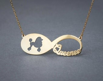 14k Solid Gold Personalised INFINITY POODLE Necklace - 14k Gold Poodle Necklace - Name Necklace