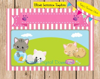 Cats, Kitten  Digital Blank Invitation template . Digital File. 5 x 7 inches. JPG. Use in your own publishing program. Download. No text.