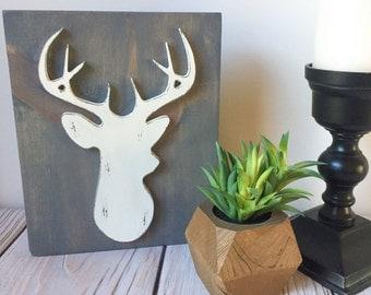 Rustic Signs - Deer Head - Farmhouse Decor - Nursery Decor - Woodland Nursery - Rustic Home Decor - Deer Sign - Deer Silhouette - Wood Signs
