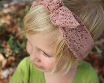 dusty rose top knot headband