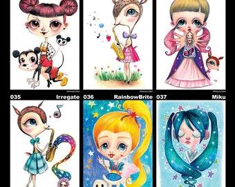 mini print / postcard - Mickey , MyDeerSaxophonist , Kewpie , Irregate , RainbowBrite , Miku
