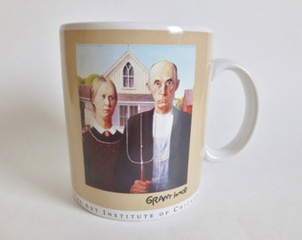 American Gothic Mug Grant Wood, Art Institute of Chicago Masterpiece Collection Mug, Vintage 1993  Art Mug, Large Size 12 Ounces Coffee Cup