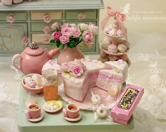"Dollhouse miniature. Large set collection ""Delicate shabby and roses."", Dollhouse miniature TO Order"
