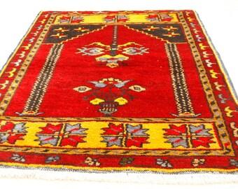 Genuine Cr1900-1939s AntiqueTurkish Wool Pile Child Prayer Rug-2'3''x4'1''