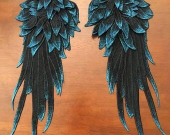 Raven Black Cosplay Wings, Dark Angel Wings, Raven Wings, Pin Clip-on Lace Caplet Epaulets Costume Weddings Burning Man Goth Black Lace Wing