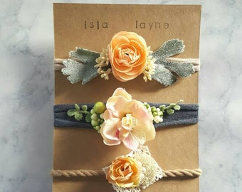 3 piece handmade tieback headband set-newborn headband-baby shower gift-baby gift-photography prop-IslaLayne-newborn photography-tiebacks