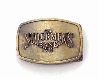 The Stockmen's Bank Vintage Steel Belt Buckle