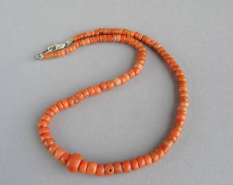 Antique Natural Coral Necklace, Coral Jewelry, Mediterranean Coral Beads, Natural Salmon Coral. FREE SHIPPING!!!