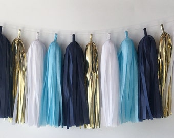 Blue & Gold Tassel Garland