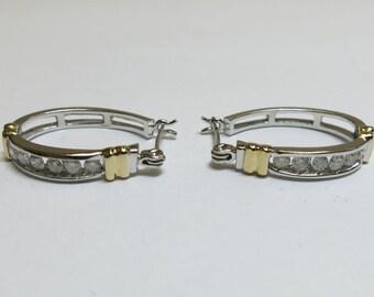 diamond hoop earings 14k gold