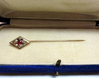 antique ruby stick pin 14k yellow gold