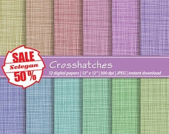 "SALE 5O% "" Cross Hatches "" Digital Paper, Scrapbooking, Paper, 12x12, Printable, Pattern, Texture, Background, Download"