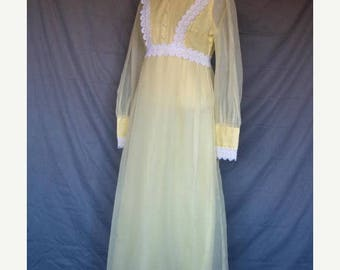 On Sale Vintage 1960's Formal Empire Waist Victorian Style Maxi Dress Yellow  White Lace