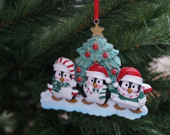 Personalised Christmas decoration, penguin family of 4,5 or 6 decoration,family decoration,large fanily decoration,personalised decoration