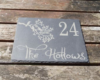 Slate house sign, shed sign,bird sign, bird in tree sign,  personalised slate sign, bespoke house sign, house numbers,