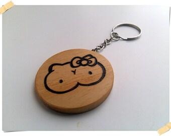 Hello Kitty - Hello Titty wooden handmade keychain, handcrafted pyrography design, gift idea, bio friendly.
