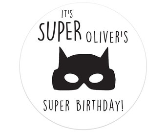 First Birthday Party Decorations | Superhero Birthday Party Stickers | Batman Birthday Party Decor | Printed Party Stickers | Australia