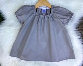 Girl top, toddler top, Top, Peasant top, cotton, charcoal, grey