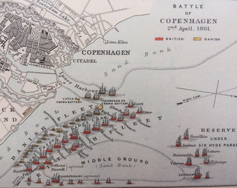 1905 Battle of Copenhagen Original Antique Map, Military History, 8 x 10 inches, Available Framed