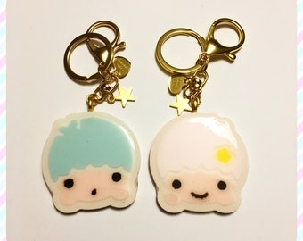 Set of 2 Resin Keychains Little Twin Stars