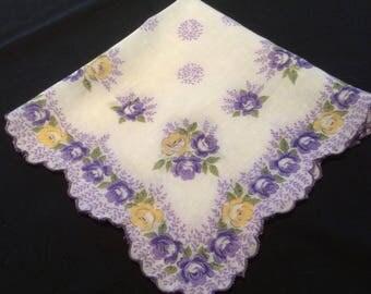 Vintange Purple and Yellow Flowers on a White Handkerchief, Floral Hankerchief, 1950's Flower Hankies, Scalloped Edge Hanky