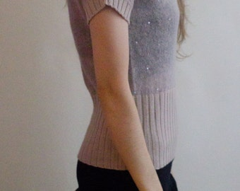Vintage Sweater Top, Pale Pink , Deep V Sweater,  Beading