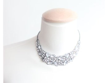 Vintage Clear Rhinestones Necklace,