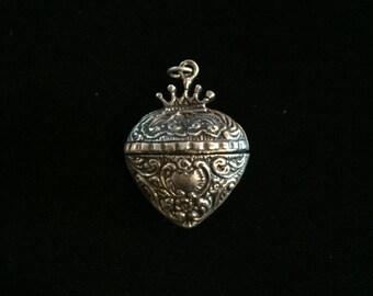 antique crown heart locket