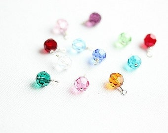 Add a Swarovski Birthstone Charm- Genuine Swarovski Crystals 8 mm - January through December -