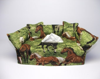 Horses running fabric tissue box cover.