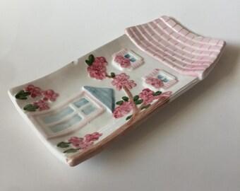 Super Cute Chic Pink Cottage Vintage Spoon Rest Ceramic