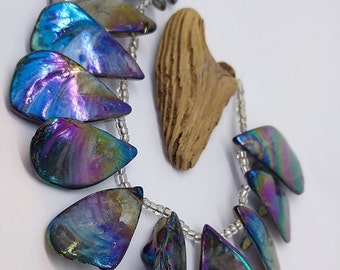 Natural Blue green Rainbow Abalone Rustic shell Teardrop Beads Square  15 - 25 mm approx - Briolette Shell Beads LARGE SIZE Oil Tone