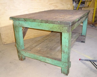 Industrial Mill Workbench Table Vintage Aged