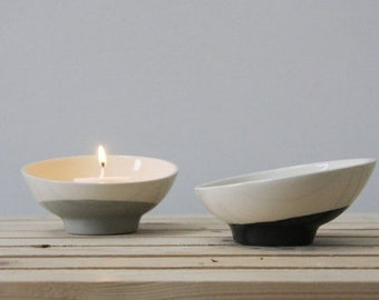 Ceramic bowl in white and black. ceramic planter, ceramic dipping bowl, ceramic candle holder