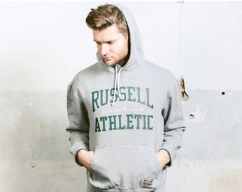Men's Vintage 90s RUSSELL ATHLETIC Grey Hoodie . Thick Sweatshirt Pullover 1990s Cozy Boyfriend Gift . size Extra Large XL