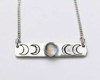 Sterling silver moonstone necklace crescent moon