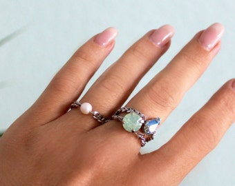 Crystal and Pearl Stacking Rings - Swarovski & Stainless Steel Chain