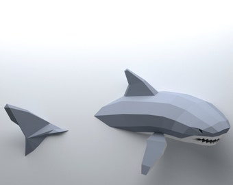 Low Poly Shark modèle, créer votre propre 3D Papercraft requin, requin Origami, grand requin blanc, amant de requin, Shark Week, Tenture murale