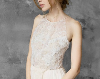 Lace and chiffon halter-neck wedding dress, open back wedding gown, slit dress // Melita