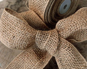 "SALE!! 2"" Natural Burlap Wired Ribbon - Sold in 10 Yard Rolls"