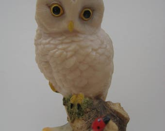 Aynsley owl figurine, owl figurine on wooden stand