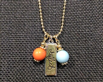 """Hope Inspired 18"""" Gold-tone Ball Chain Necklace - """"Reflect"""" w/coral and blue beads"""