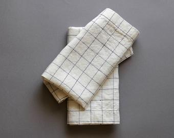 Linen Napkins White and Black Check (Set of 6)