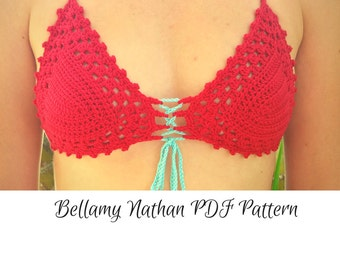 "Crochet Bikini Bra Pattern, ""Cristal""  Crochet Bikini Top  Sizes XS-L"