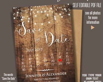Printable Save the Date for JULY 2017, Wedding templates, Save the date card, Instant Download Self Editable PDF, Rustic Wood, A217