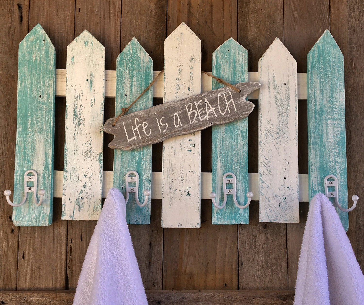 Pool Towel Sign With Hooks: Beachy Picket Fence Towel Or Coat Rack With Life Is A
