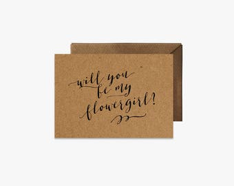 Will you be our flowergirl? Card + Kraft Envelopes Card